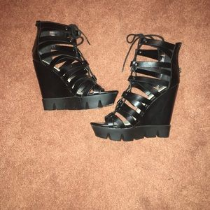 Bamboo Platform Lace Up Wedges
